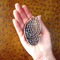 Indian Printing Block, Paisley Fish Stamp, Hand Carved Wood Block Stamp, Wooden Stamp from India