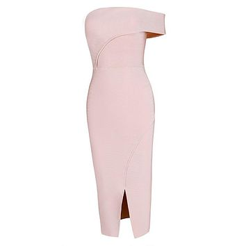 Malaysia- Off Should Slit Bodycon Bandage Midi Dress