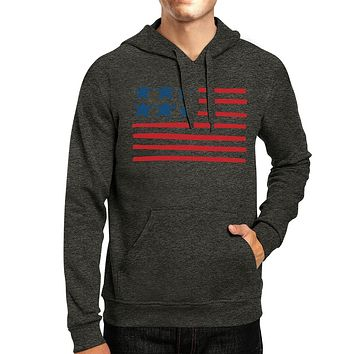 USA Flag Cute American Flag Design Unisex Gray Hoodie Gifts For Her