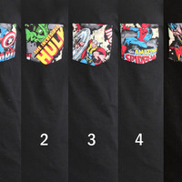 Super Hero Avengers Marvel Heros Captain America, Hulk, Thor, Spider-Man, Wolverine Patched Pocket T-Shirt