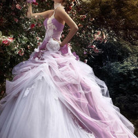 White and Purple Wedding Dresses One-Shoulder Sleeveless Ball Gown Backless Floor-Length Nkeru Couture Bridal Gowns  S-288