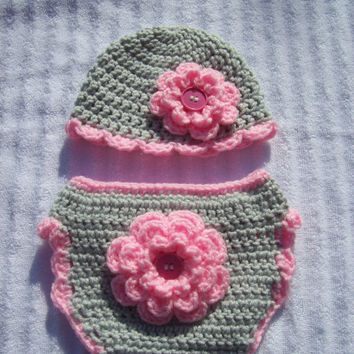 Baby Girl Diaper Cover in Pink and Grey, Diaper Cover and Hat Set, Crochet Diaper Cover Set