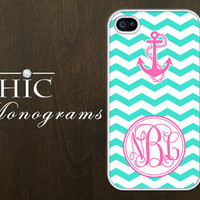 Personalized iPhone 4 case iPhone 4s case iPhone 4 cover iPhone 4s cover iPhone 4s skin Monogram Nautical Chevron Turquoise White with Pink