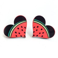 Juicy Watermelon Heart Shaped Earrings