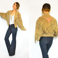taupe suede hand-painted COW SKULL swingy fringed WESTERN jacket, small-medium