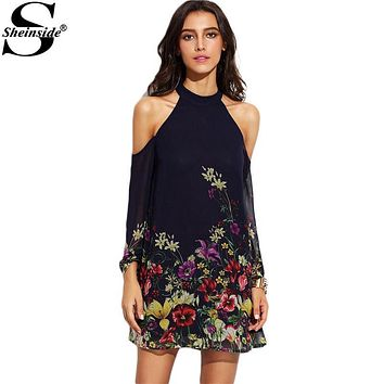 Sheinside Ladies Navy Flower Print Keyhole Round Neck Cold Shoulder Long Sleeve Cut Out Shift Mini Dress