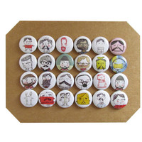 """Macho Doodle 1"""" Pins or Magnets - Lumberjack, Sailors, Bearded Men Doodle Images Set of 24 - For the Home Office Memo Board - Dorm Room item"""