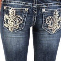 Amazon.com: Miss Me studded fleur di lis bootcut jeans - up to size 34 (33): Clothing