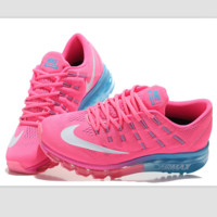 """NIKE"" Trending Fashion Casual Sports Shoes AirMax Toe Cap hook section knited Pink white hook"