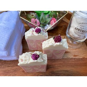 Berry Clean Cherry Bomb Cold Process Soap with Flower embed