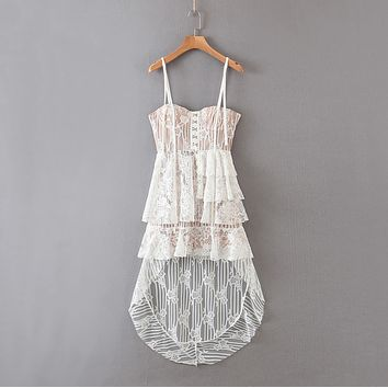 2020 new women's dress white lace Xianqi double D-ring belt irregular sling detachable dress