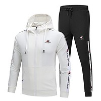 Champion winter plus velvet trend warm fitness sweater running suit two-piece White