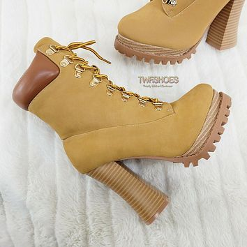 """CR Nellie Lace Up Ankle Boots 4.5"""" Wood Grain Chunky Flared Block Heels Tan"""