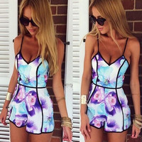 Purple Floral Print Strappy V-Neck Romper