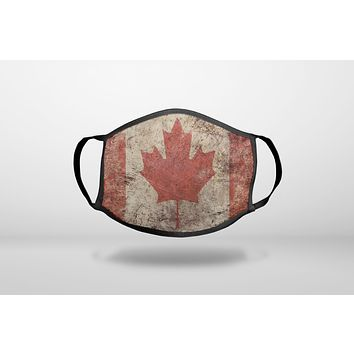 Canadian Flag Old Weathered - 3-Ply Reusable Soft Face Mask Covering, Unisex, Cotton Inner Layer