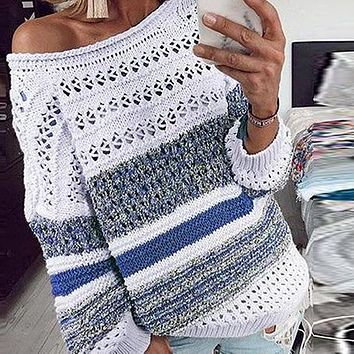 Women Fashion Hollow Out Multicolor Striped Pullovers High Street Knitted Tops Female Loose Sweaters