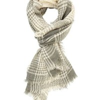 Mixed Stitch Plaid Wrap Scarf by Charlotte Russe - Lt Gray Combo