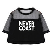 ROMWE Letters Print Mesh Panel Contrast Trimming T-shirt