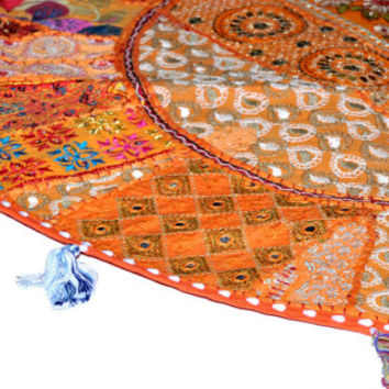 """17"""" Patchwork Round Floor Pillow Cushion in Orange round embroidered Bohemian Patchwork floor cushion pouf Vintage Indian Foot Stool ottoman"""