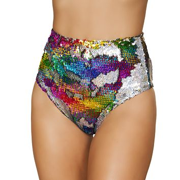 Reverse Sequin Two-Tone High Waisted Rave Shorts