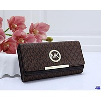 MK Michael Kors Fashion Women Retro Leather Buckle Wallet Purse 4#