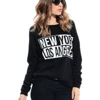 Black Textured New York/Los Angeles Sweater | $10 | Cheap Trendy Sweaters Chic Discount Fashion for