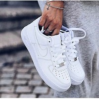 NIKE Air Force 1 Personalized Running Sneakers Shoes Pure White