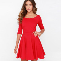 Plain Sleeve Flare Dress