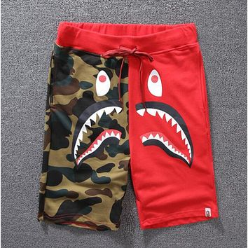 Bape Aape Trending Unisex Casual Camouflage Shark Mouth Print Shorts Red I12036-1