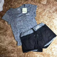 """Nike"" Print Short sleeve Top Shorts Pants Sweatpants Set Two-Piece Sportswear G-YF-MLBKS"
