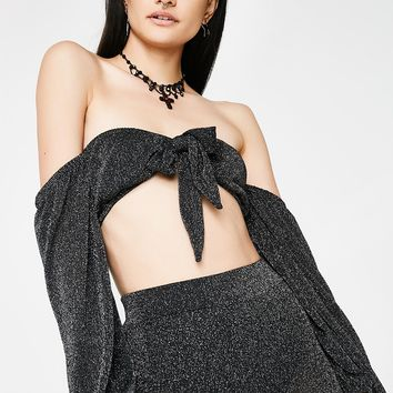 Time To Party Off-Shoulder Crop Top