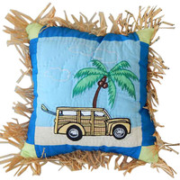 Quilted Beach Scene Decorative Throw Pillow