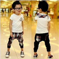 White T shirt + Cell Harem Pants 2pcs Boys Outfit