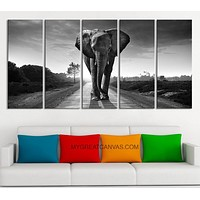 """Large Wall Art Canvas Wild Elephant on the Road Art Prints For Wall EXTRA LARGE 60""""32"""" Ready to"""