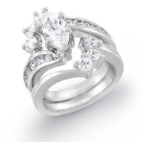 Bling Jewelry Bridal Sterling Silver 1-ct Marquise CZ Arc Engagement Wedding Ring Set Size 5