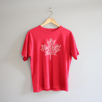 Canada Olympic Tee / Maple Leave tshirt / AUTOGRAPH / Hipster / Grunge / Minimalist / T-shirt / Men's Tee /Vintage / Size L