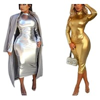 Women Sexy Long Sleeve Silver/Gold Fashion Bandage Dress