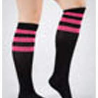 Black & Hot Pink Athletic Stripe Knee High Socks