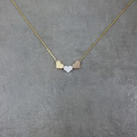 Three Heart Gold Necklace