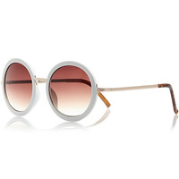 River Island Womens White round sunglasses