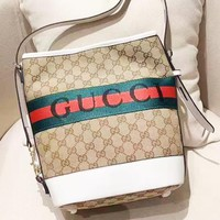 Gucci Unisex Casual Large Capacity Embossed Letter Shoulder Crossbody Bag White