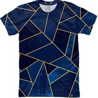 Blue Stone / Gold Lines Men's T-Shirts by Elisabeth Fredriksson | Nuvango