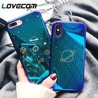 LOVECOM Cool Universe Planet Phone Case For iPhone 6S 6 7 8 Plus X Retro Smooth Blu-Ray Cover Fashion Cartoon Cases Capa