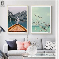 Nordic Canvas Posters And Prints Wall Art Landscape Painting Wall Pictures for Home Decoration, Seagull Wall Decor