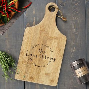 Personalized Engraved Paddle Cutting Board, Bamboo - CB02