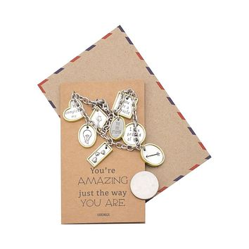 Trinity 9 Charms Bracelet, Inspirational Gifts for Women with Greeting Card