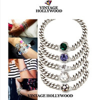 Colorful Gems Retro Vintage Women Birthday Gift Casual Jewelry Accessories Bracelet _ 2004