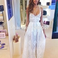 2014 New Arrival Elie Saab Spaghetti Traps V Neck Lace See-through Prom Dress Fashion Gowns Glitter Dress