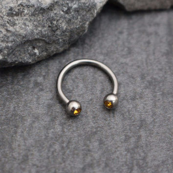 Horseshoe Barbell in Topaz Crystals