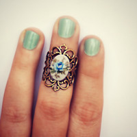 rose knuckle ring, above the knuckle ring, blue rose ring, antique brass ring, unique ring